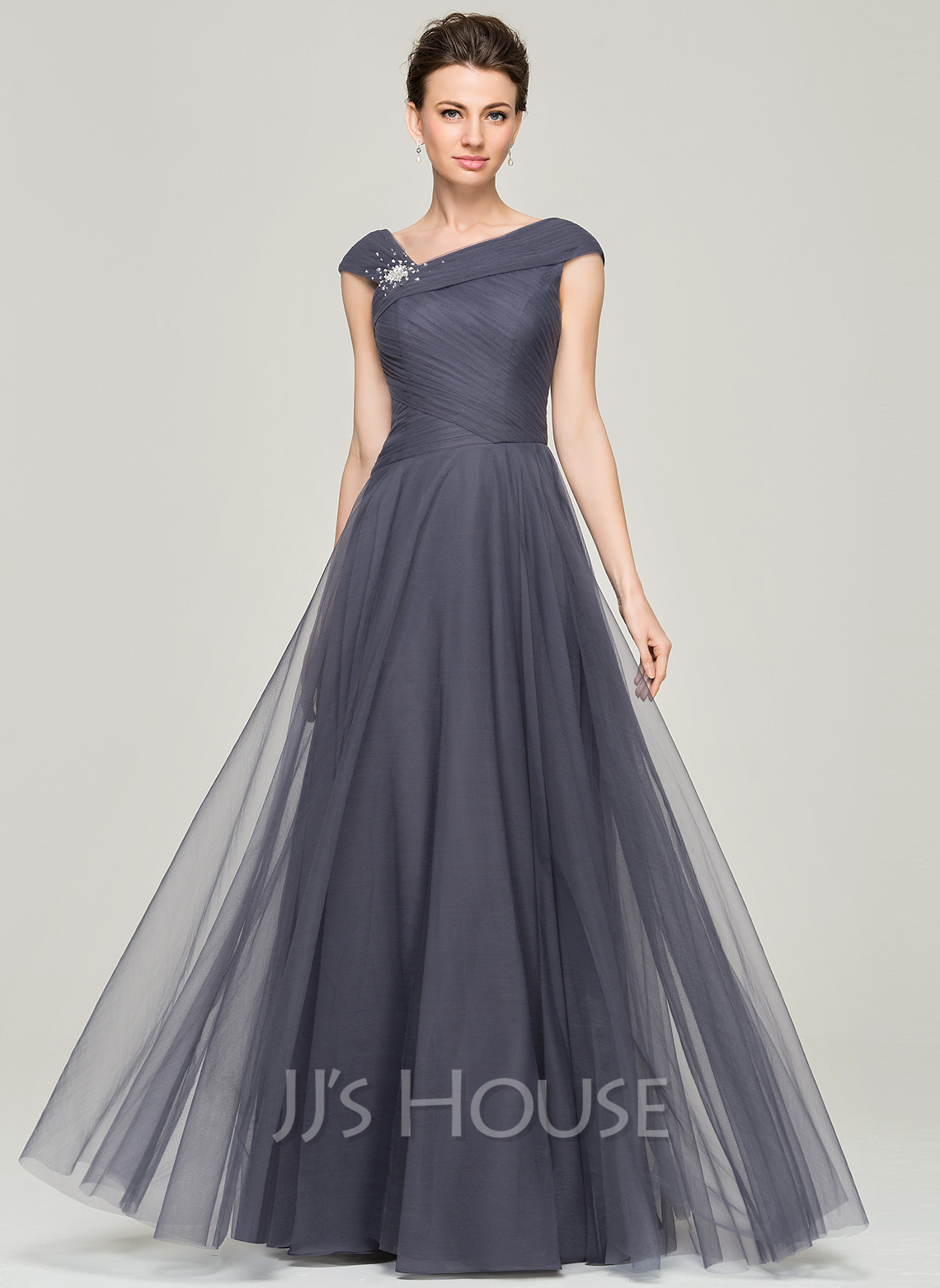 A Line Princess V Neck Floor Length Tulle Mother Of The Bride Dress With Ruffle Beading Sequins
