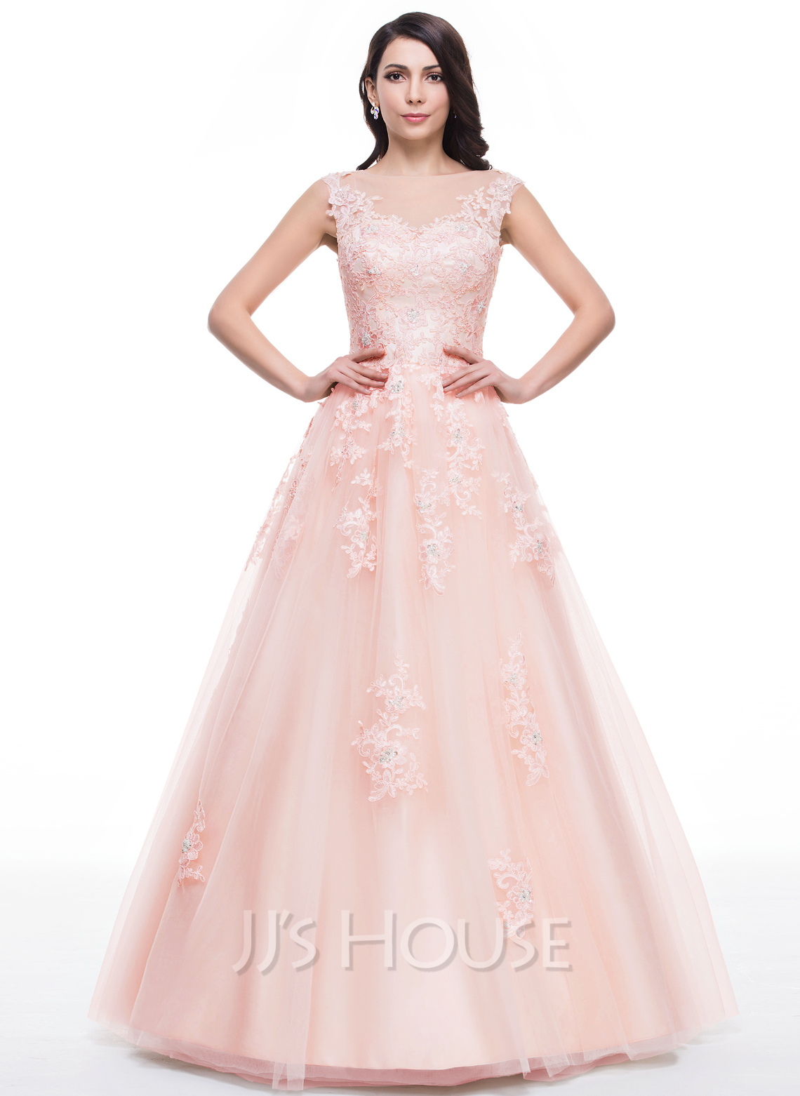 Ball gown scoop neck floor length tulle prom dress with for Floor length gowns
