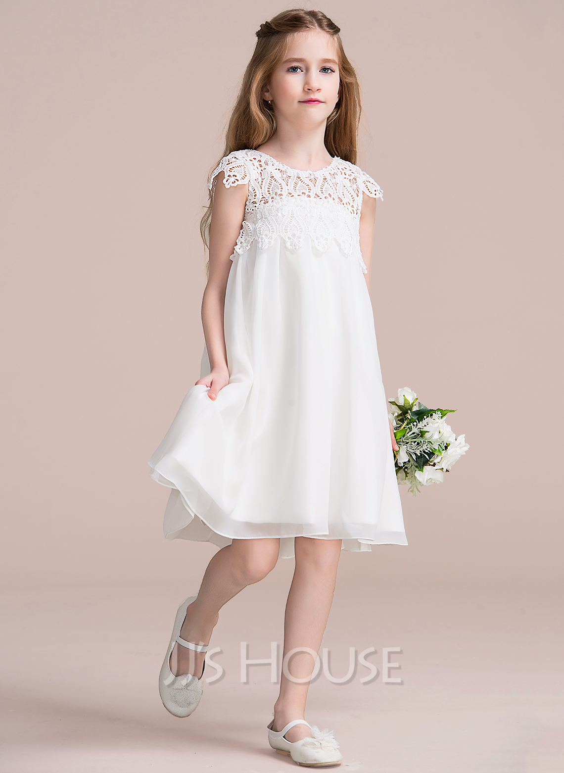 Empire Knee length Flower Girl Dress Chiffon Lace Short Sleeves Scoop Neck