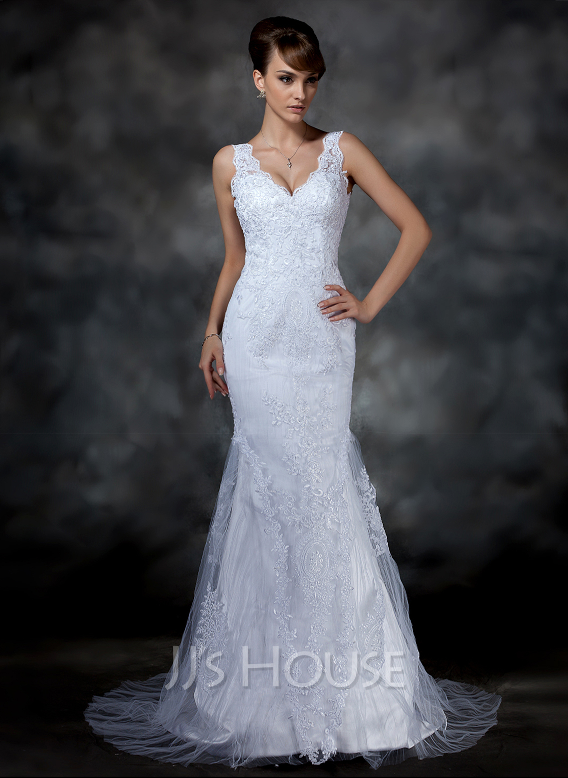 Trumpet Mermaid V Neck Court Train Tulle Lace Wedding