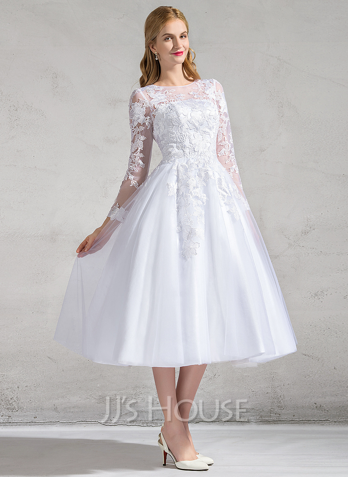 A Line Princess Scoop Neck Tea Length Tulle Lace Wedding Dress With Appliques Lace 002083685
