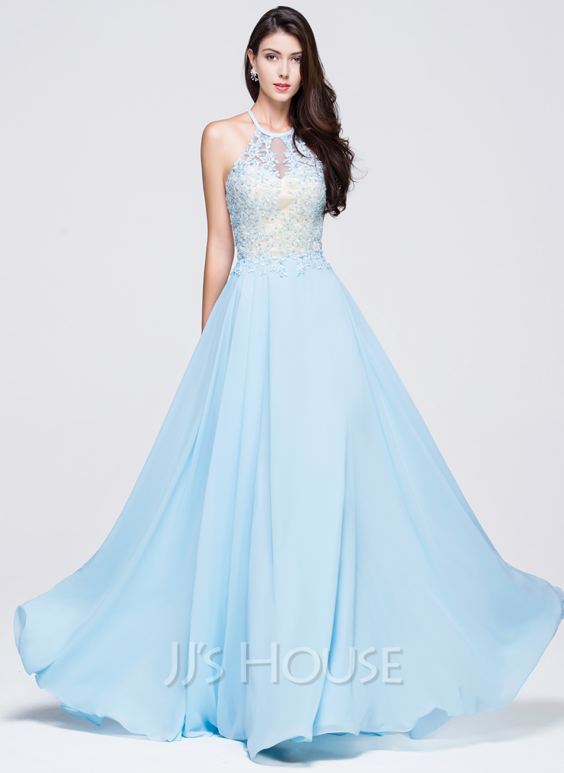 A line princess scoop neck floor length chiffon prom dress for Floor length gowns
