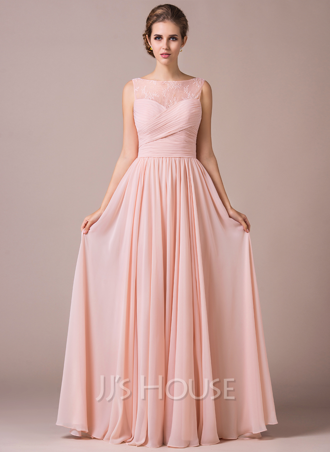 A line princess scoop neck floor length chiffon lace for Floor length gowns