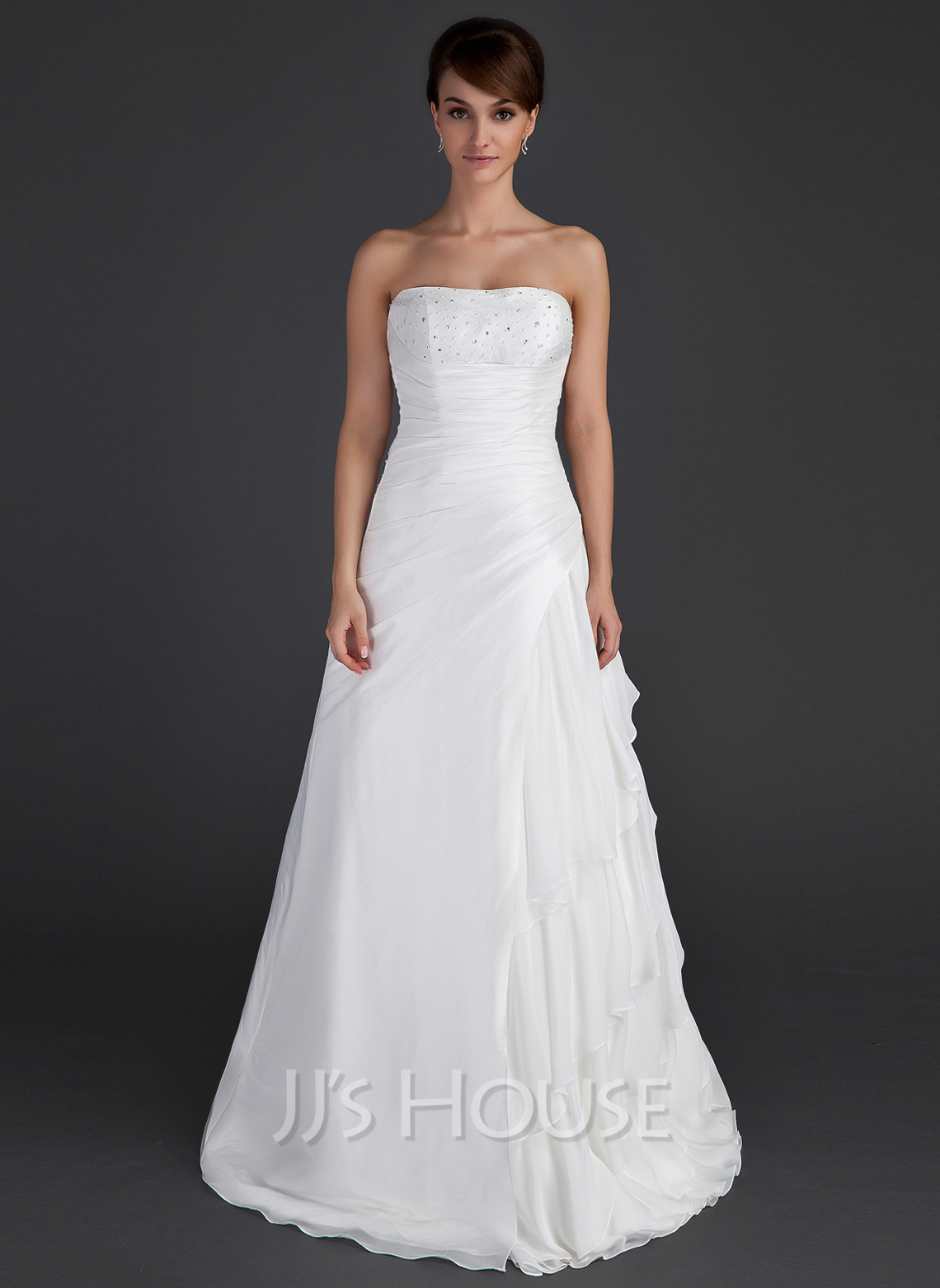 A line princess strapless floor length taffeta wedding for Cascading ruffles wedding dress