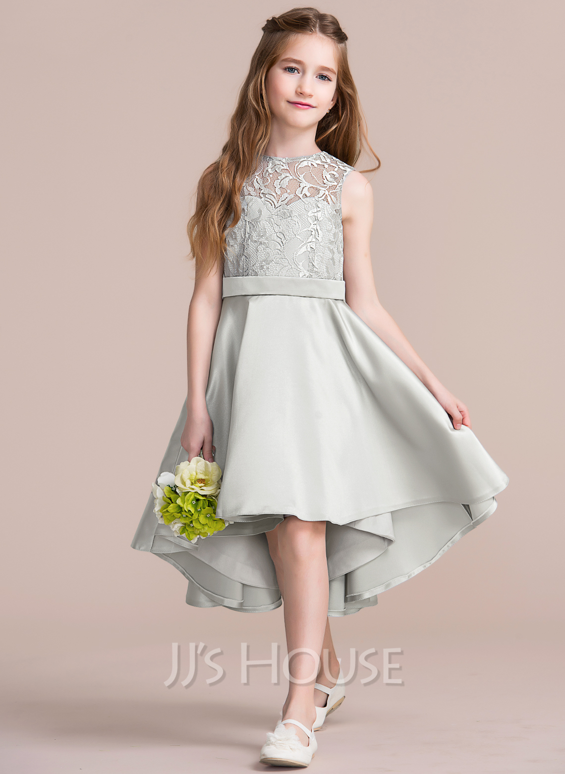 A Line Princess Scoop Neck Asymmetrical Satin Junior Bridesmaid Dress 009095078