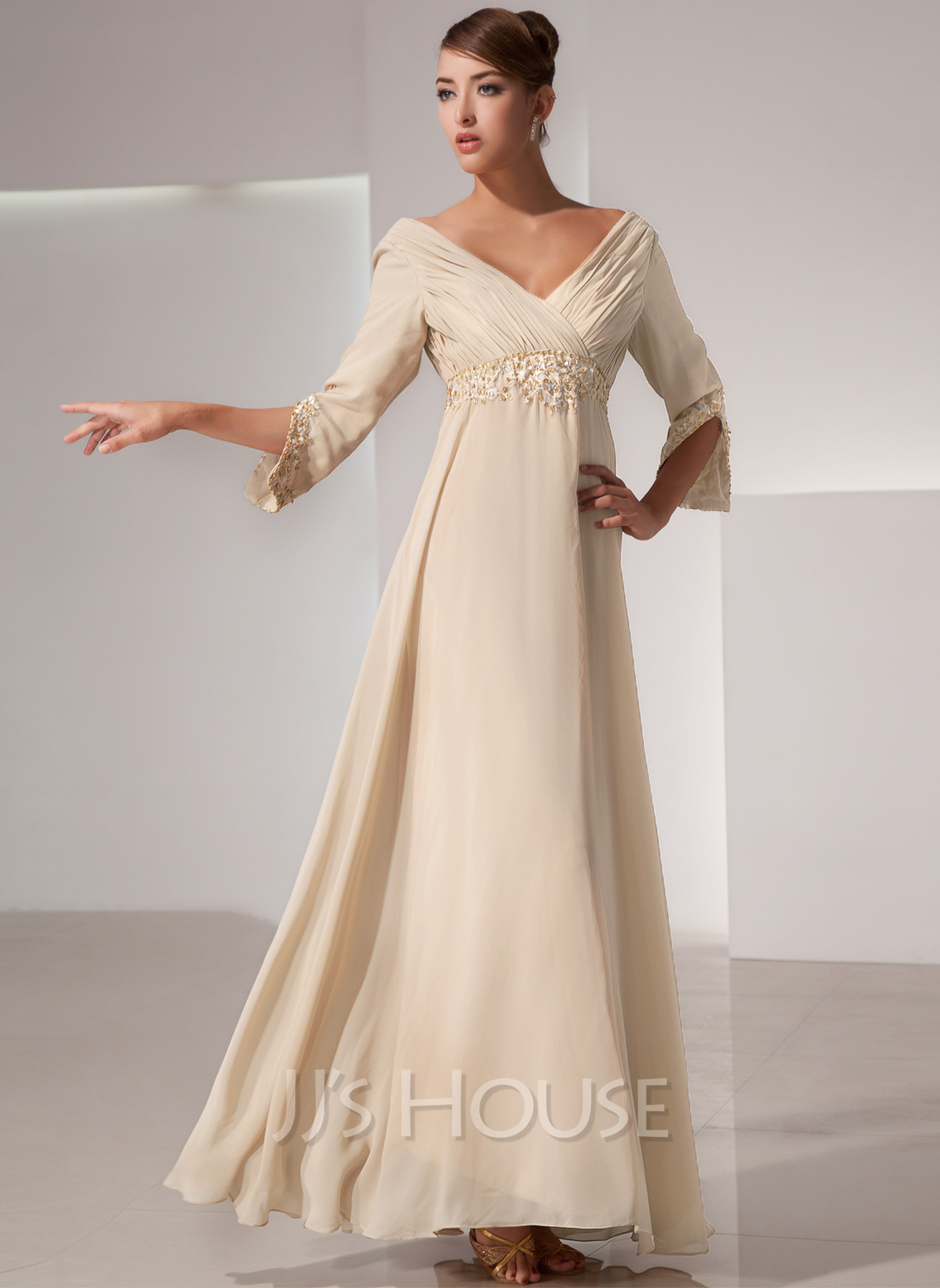 Mother of the bride dress with ruffle beading 008014434 jjshouse