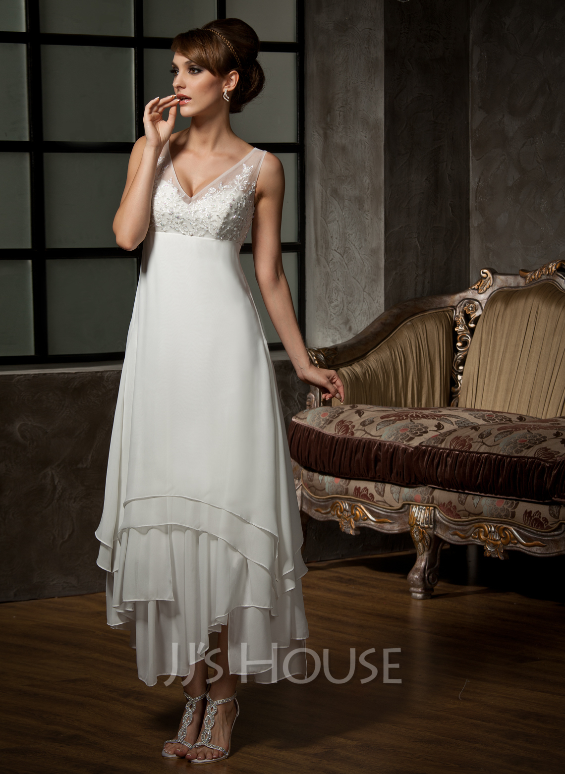 A line princess v neck ankle length chiffon tulle wedding for Lace ankle length wedding dress