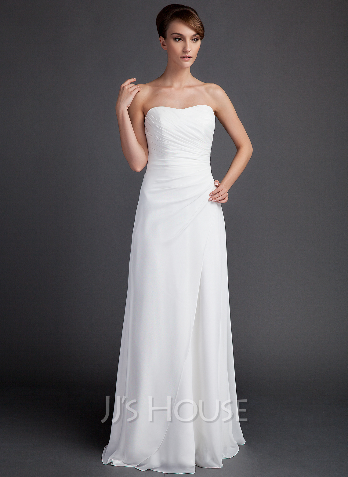 Sheath/Column Sweetheart Sweep Train Chiffon Wedding Dress With Ruffle ...