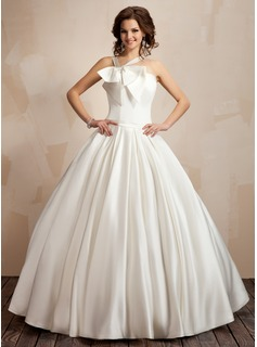 Ball-Gown V-neck Floor-Length Satin Wedding Dress With Ruffle