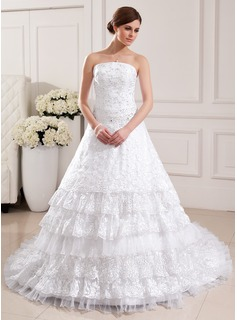 Ball-Gown Strapless Chapel Train Organza Lace Wedding Dress With Beading Pleated