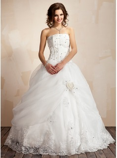 Ball-Gown Strapless Floor-Length Organza Satin Wedding Dress With Ruffle Lace Beadwork Flower(s) (002021817)
