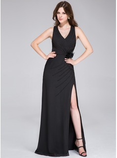 Sheath V-neck Floor-Length Chiffon Evening Dress With Ruffle Beading Flower(s)