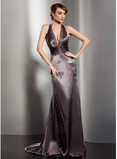 Sheath Halter Court Train Charmeuse Evening Dress With Ruffle Beading (017014538)
