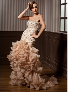 Trumpet/Mermaid Sweetheart Asymmetrical Organza Satin Prom Dress With Beading Cascading Ruffles