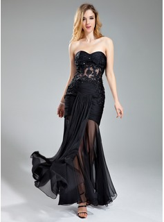 Trumpet/Mermaid Sweetheart Floor-Length Chiffon Prom Dress With Ruffle Lace Beading