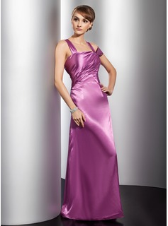 Sheath Off-the-Shoulder Floor-Length Charmeuse Evening Dress With Ruffle