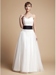 A-Line/Princess V-neck Floor-Length Taffeta Tulle Lace Wedding Dress With Ruffle Sash Beading Bow(s)