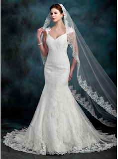 Mermaid V-neck Court Train Satin Tulle Wedding Dress With Lace Beadwork (002000630)