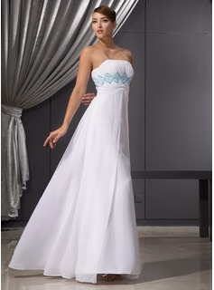 Empire Strapless Floor-Length Chiffon Evening Dress With Embroidered Ruffle Beading Sequins