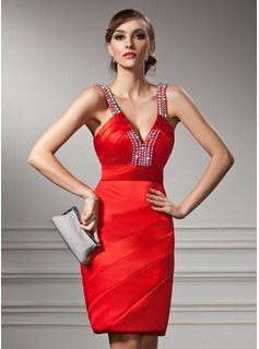 Sheath V-neck Knee-Length Satin Cocktail Dress With Ruffle Beading