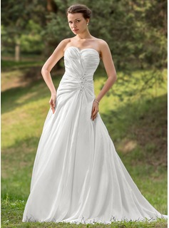 A-Line/Princess Sweetheart Chapel Train Taffeta Wedding Dress With Ruffle Lace Beadwork Sequins (002012570)