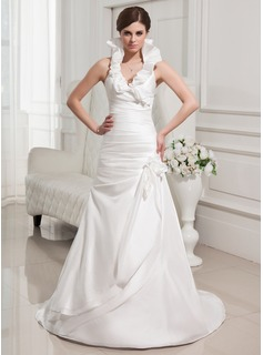 A-Line/Princess Halter Sweep Train Taffeta Wedding Dress With Flower(s) Cascading Ruffles