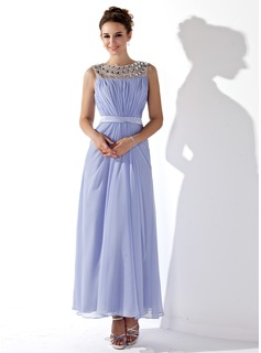 A-Line/Princess Scoop Neck Ankle-Length Chiffon Prom Dress With Ruffle Sash Beading (018021121)