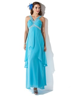 A-Line/Princess V-neck Ankle-Length Chiffon Prom Dress With Ruffle Beading (018013782)