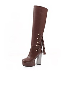 Real Leather Chunky Heel Platform Knee High Boots shoes