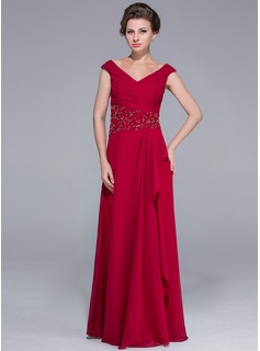 A-Line/Princess Off-the-Shoulder Floor-Length Chiffon Mother of the Bride Dress With Ruffle Beading Cascading Ruffles