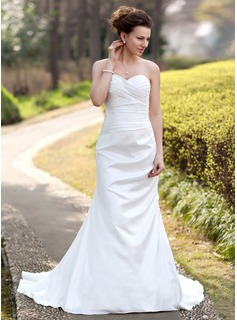 Sheath/Column Sweetheart Sweep Train Taffeta Wedding Dress With Ruffle (002000490)