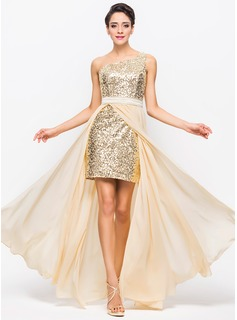 A-Line/Princess One-Shoulder Asymmetrical Chiffon Charmeuse Sequined Prom Dress