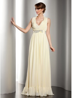 Sheath Halter V-neck Floor-Length Chiffon Holiday Dress With Ruffle Beading (020014532)