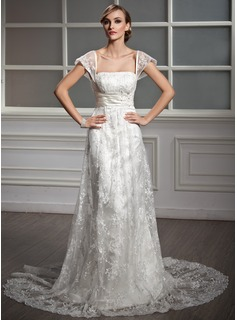 A-Line/Princess Square Neckline Court Train Satin Lace Wedding Dress With Ruffle Beadwork Sequins