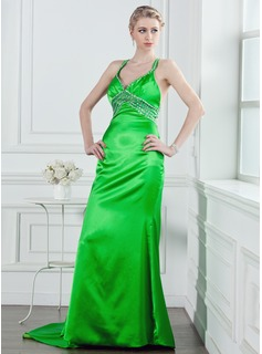 Sheath V-neck Court Train Charmeuse Holiday Dress With Beading Sequins