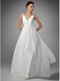 A-Line/Princess V-neck Floor-Length Chiffon Wedding Dress With Ruffle Beadwork
