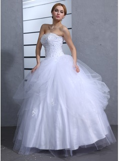 Ball-Gown Sweetheart Floor-Length Satin Tulle Wedding Dress With Ruffle Lace Beading Sequins