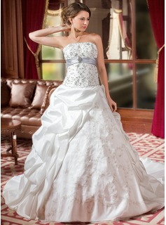 Ball-Gown Strapless Cathedral Train Taffeta Organza Wedding Dress With Embroidered Ruffle Sash Beading Sequins