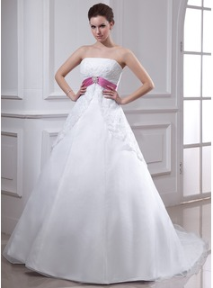 Empire Strapless Chapel Train Organza Satin Wedding Dress With Lace Sash Crystal Brooch