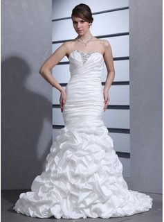 Mermaid Sweetheart Court Train Taffeta Wedding Dress With Ruffle Beadwork
