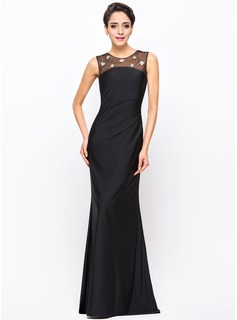 Trumpet/Mermaid Scoop Neck Floor-Length Tulle Jersey Evening Dress With Beading Sequins