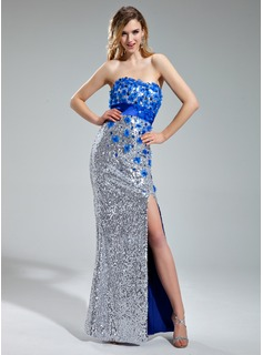 Sheath/Column Sweetheart Floor-Length Charmeuse Sequined Prom Dress With Beading Flower(s) Split Front