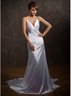 A-Line/Princess V-neck Watteau Train Charmeuse Wedding Dress With Lace Beadwork