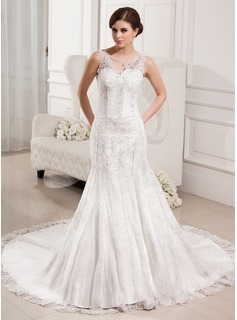 Trumpet/Mermaid V-neck Chapel Train Satin Tulle Wedding Dress With Lace Beading