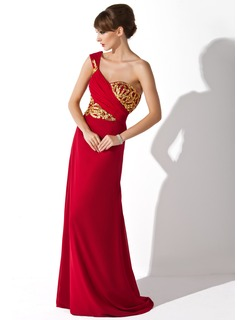 Trumpet/Mermaid One-Shoulder Sweep Train Chiffon Mother of the Bride Dress With Ruffle Sequins
