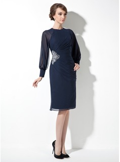 Sheath/Column Scoop Neck Knee-Length Chiffon Mother of the Bride Dress With Ruffle Beading