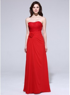 Sheath Sweetheart Floor-Length Chiffon Bridesmaid Dress With Ruffle Lace Flower(s)