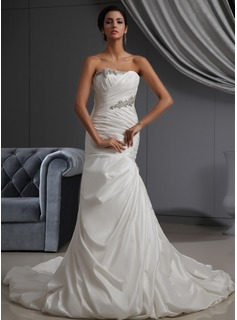 Trumpet/Mermaid Strapless Cathedral Train Taffeta Wedding Dress With Ruffle Beading (002022695)