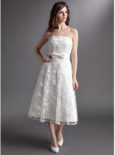 A-Line/Princess Strapless Tea-Length Satin Lace Wedding Dress With Bow(s)