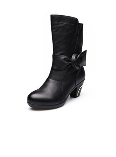 Real Leather Low Heel Mid-Calf Boots With Bowknot shoes
